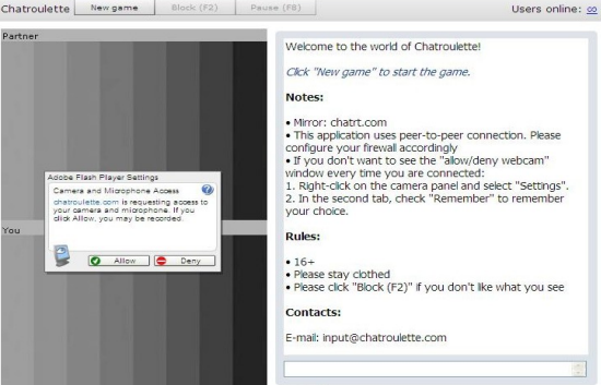screenshot of user connecting to chatroulette